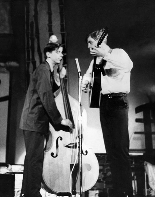 Hudson High School Talent Show Johnny Center and Johnny Jackson on stage at the Hudson High School Talent Show May, 1966
